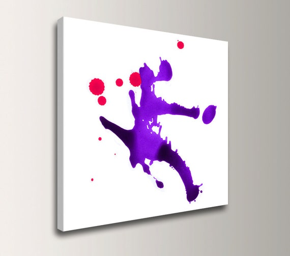 """Abstract Painting - Violet Wall Art -White Modern Canvas Wall Art with Purple Splat - """"Dash"""""""