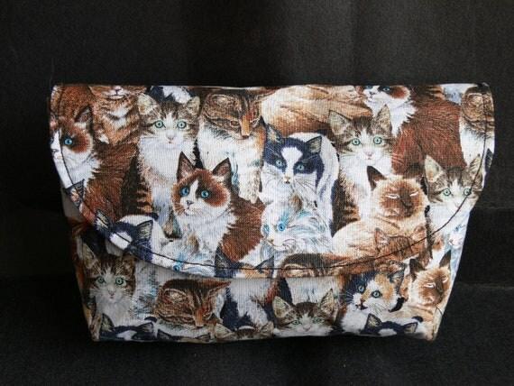 Clutch purse in cat fabric