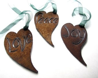 Recycled Rusty Heart Charms Metal Garden Art by GeminiDragonfly