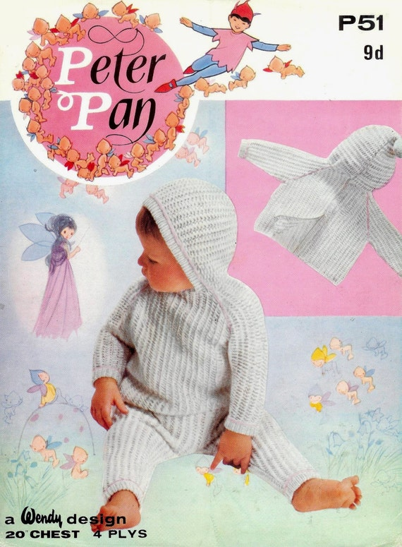 Knitting Pattern For Baby Sweater With Zipper In The Back : Baby 4ply Hooded Back Zip Sweater and Trousers 20ins - Vintage BABY Knitting ...