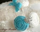 ON SALE/ Mint blue silk wedding garters with Heart rhinestone