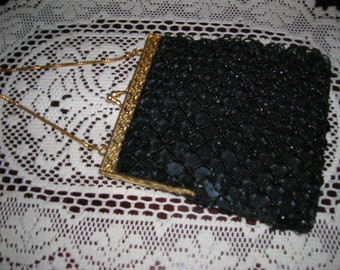 Black Sequined and Beaded Walborg  Evening Bag    Walborg  Purse  Gold tone trim  Snap Clasp closure