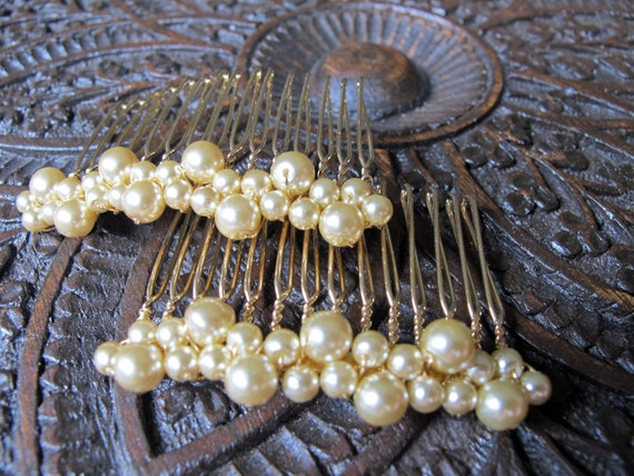 "Glass Pearl Bridal Hair Comb, Gold, Set of 2 - ""Isabella"""