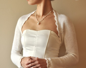 BRIDAL SHRUG wedding bolero long sleeves alpaca warm color cream
