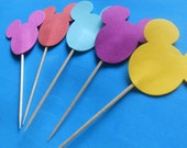Mickey Mouse Cupcake Toppers (24)  Item Number 6243563883 You Choose Your Color