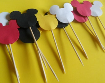 Mickey Mouse Cupcake Toppers (24)  Item Number 627883 You Choose Your Color