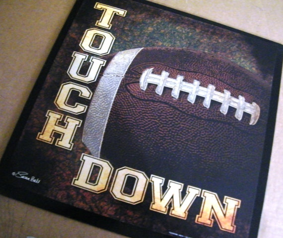 football sign wood bedroom decor touch down sports rustic vintage man