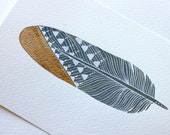 Original Gold-Dipped Feather Painting - Watercolor Art - Feathers by Marisa Redondo