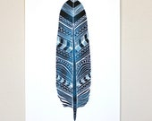Cobalt Blue Feather - Art Watercolor Painting - Patterned Feather - Archival Print
