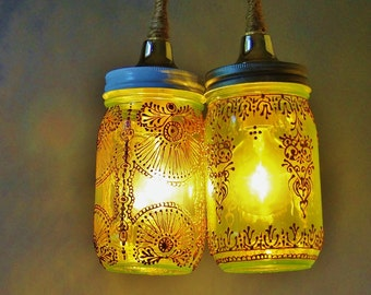 Mason Jar Duo Pendant Light, Bohemian Home Lighting, Moroccan Inspired Lime Green Glass with Copper Accents