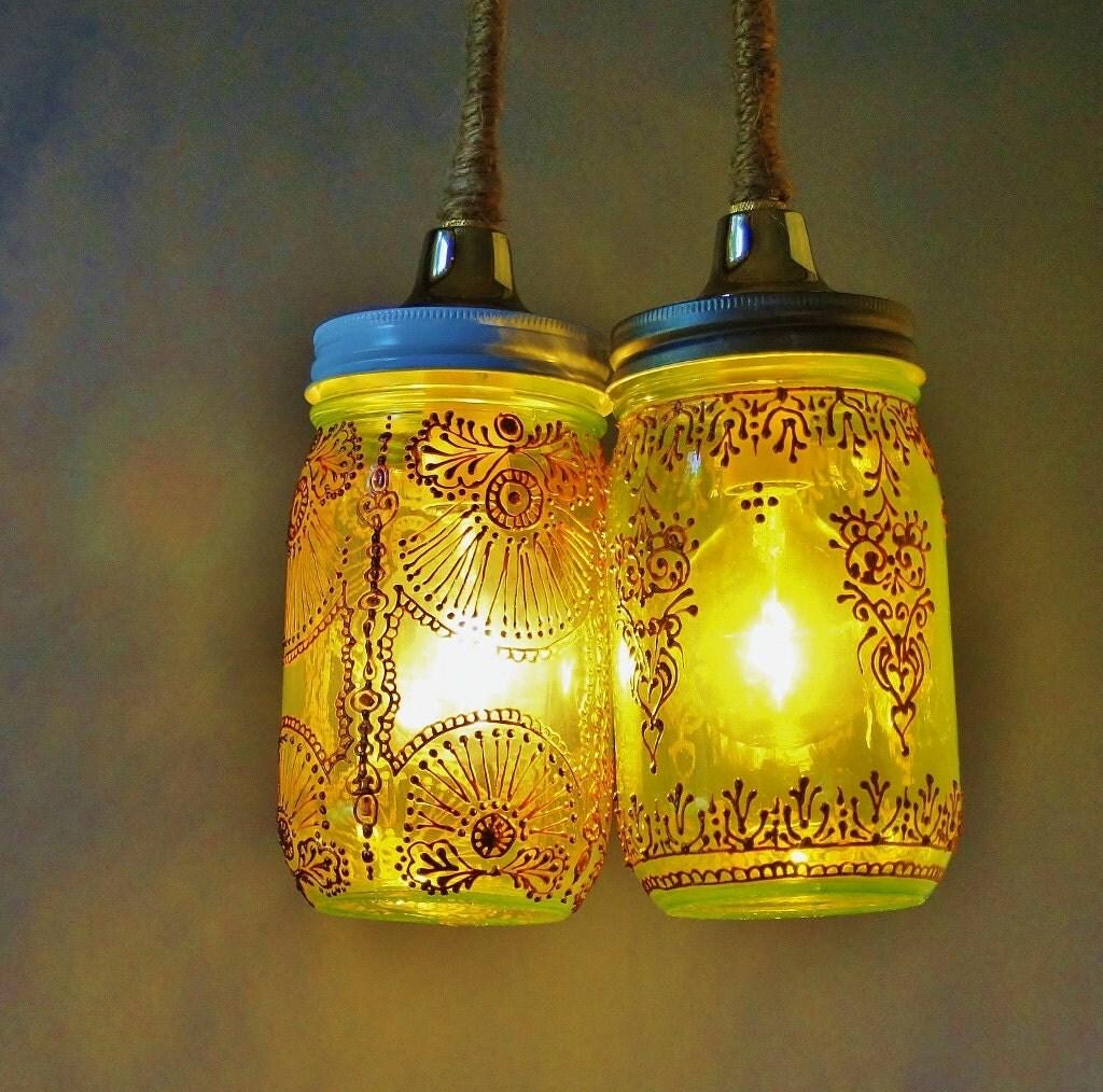 Mason Jar Duo Pendant Light Bohemian Home Lighting Moroccan