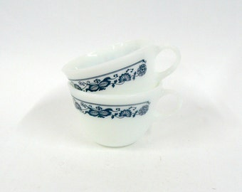 Pyrex Coffee Tea Cups, Set of Two Corning Pyrex Old Town Blue Onion Coffee Tea Cups Mugs, Kitchenware Serving Cups