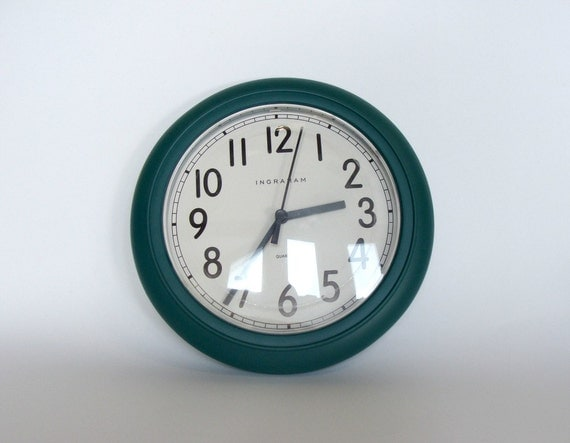 Ingraham Wall Clock Green Round Shape Wall Clock Kitchen