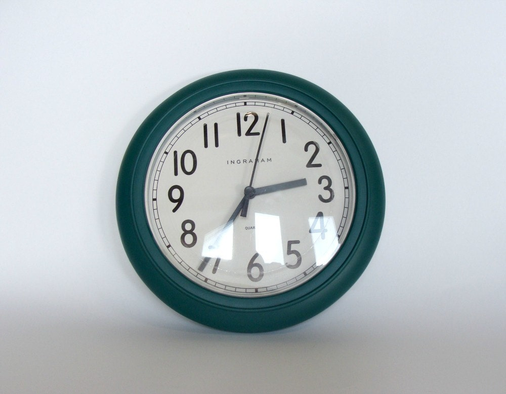 Ingraham Wall Clock Green Round Shape Wall Clock By