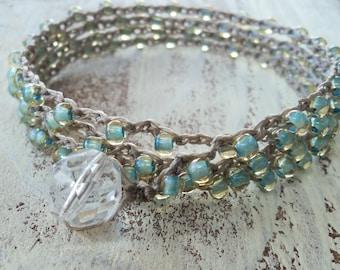 Seafoam Crochet Wrap Bracelet Necklace, Pale Aqua Blue, Boho Bohemian Glam, Surfer chic, Beach jewelry, Beaded Jewelry