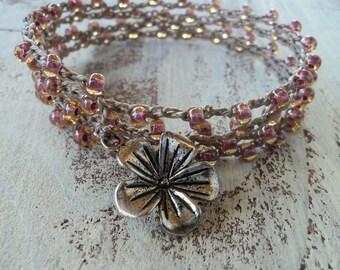 Pink Crochet Wrap Bracelet Necklace. Shabby Chic Style, Boho Crochet Jewelry, Peach Blush Pink, Romantic Jewelry, Flower Bracelet