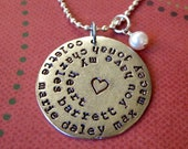 Spiral hand stamped antiqued silver metal necklace personalized for mothers grandmothers with names or words