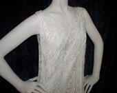 Reserved for Tami--Vtg lace dress -white, long silky sheath -- the ultimate elegant yet rich simple white dress