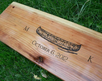 """Anniversary, wedding gift personalized two person tree swing 34-36"""" with rope, Canoe design"""