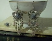 Cabochons & Crystals Dangle Earrings And Matching Flower Cabochon Adjustable Ring - OOAK