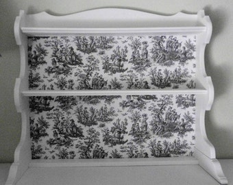 White French Country Black and White Toile  Dining Cabinet  Buffet Hutch