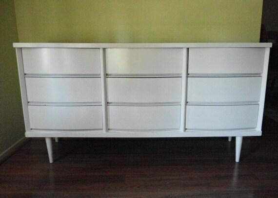 White Mid Century Nine Drawers Triple Dresser by Bassett