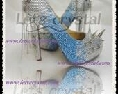 Blue and sliver swarovski crystal high heels black spikes and chains platform punk rock gothic