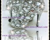 11cm high heel peeptoe boots COLLECTION Diamond frost chunky crystal flat shoes big jewelry wedding shoes