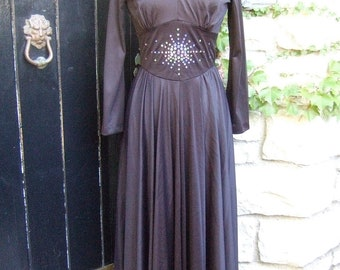 1970s Black Slinky Knit Rhinestone Trim Gown