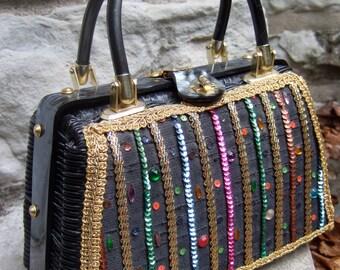 Vintage Jewled & Sequined Wicker Lucite Handbag
