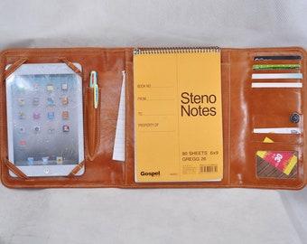 Item No: 3009Triple fold Multi-functional portfolio & case for iPad mini in waxed brown