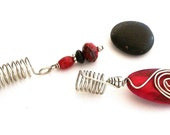 Dreadlock Jewelry - Red Teardrop Wooden Loc Jewels Set