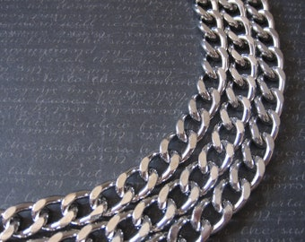Silver Curb Chain Large Silver Curb Chain Silver Fashion Chain Heavy Gauge Silver Chain Necklace Chain 13mm by 10mm (1 Foot ) by BySupply