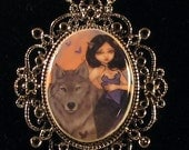 Jasmine Becket-Griffith Art Cameo Necklace Silver Wolf werewolf fairy