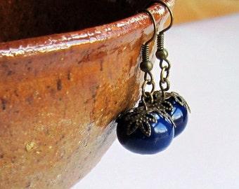 Navy Blue Earrings, Bronze Earrings, Blue Earrings, Ceramic Beads, Short Dangly Earrings, Navy Earrings, Blue Beaded Earrings