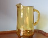 Vintage amber glass pitcher - 60s iced tea pitcher