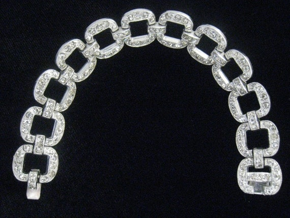 SALE Vtg Rhinestone Pave Open Link Bracelet from 70s with Retro Deco look is Covered in Rhinestones including Hidden Clasp