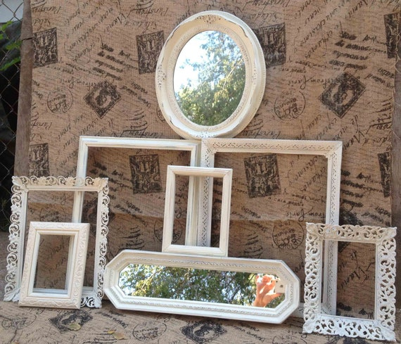 Ivory Home decor Collection - Vintage Frame Collection - Shabby Chic lightly Distressed Cream Frame and Mirror Collection - Ornate