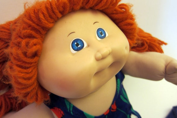 Cabbage Patch Kids Vintage Red Hair 1982 Rare Authentic xavier roberts Doll Blue Eyed Baby Doll