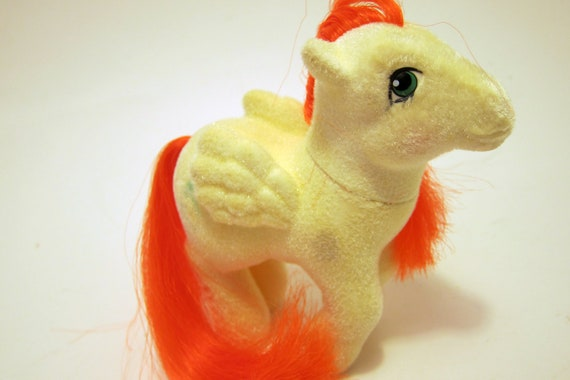Vintage My Little Pony So Softy  Yellow Paradise Pegaus Pony Neon Orange Hair  Two Palmtrees and a Moon 1984