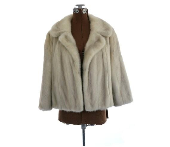 1950s 1960s Vintage Azurene Blue Grey Mink Fur Jacket / S M L