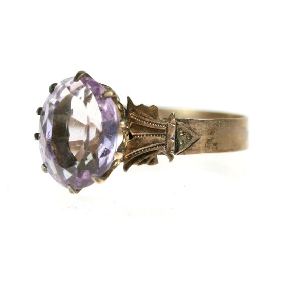 Victorian Amethyst Ring / Sterling Silver size 8