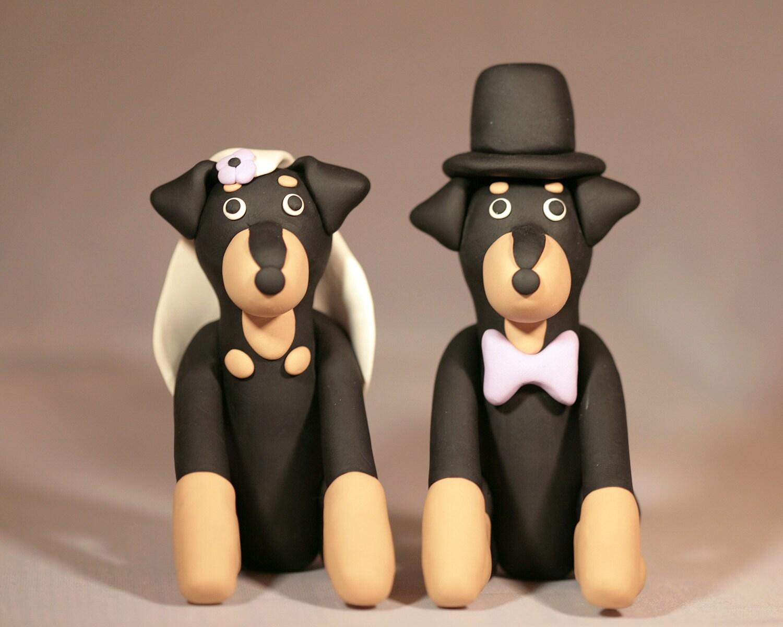 Rottweiler Rotti Dog Wedding Cake Topper by cockTHEshutter
