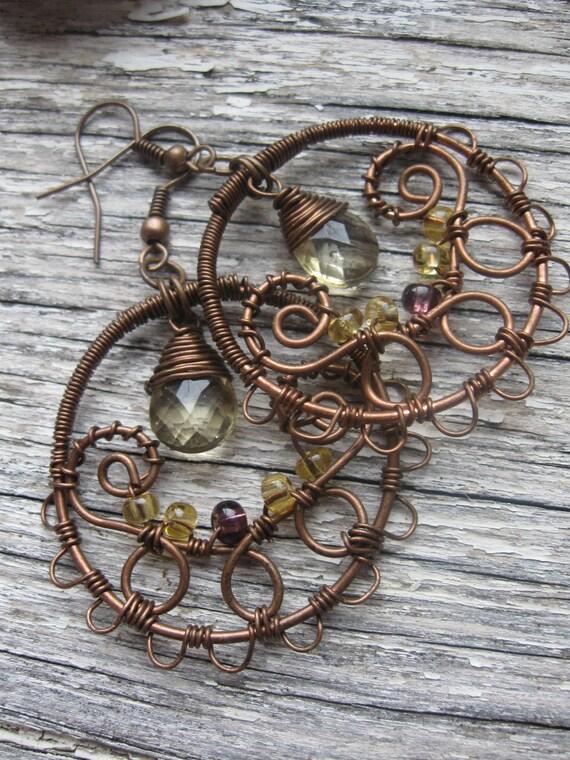Wire Wrapped Copper Filigree Dangle Hoop Earrings with Czech Glass
