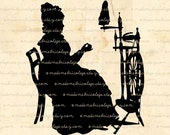 Woman with Spinning Wheel Silhouette, Digital Download for Iron on Transfer, Papercrafts, Pillows, T-Shirts, Tote Bags, Burlap, No 01659