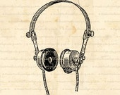 Antique Earphones, Steampunk Image, Digital Download for Iron on Transfer Papercrafts Pillows T-Shirts Tote Bags Burlap No 01994