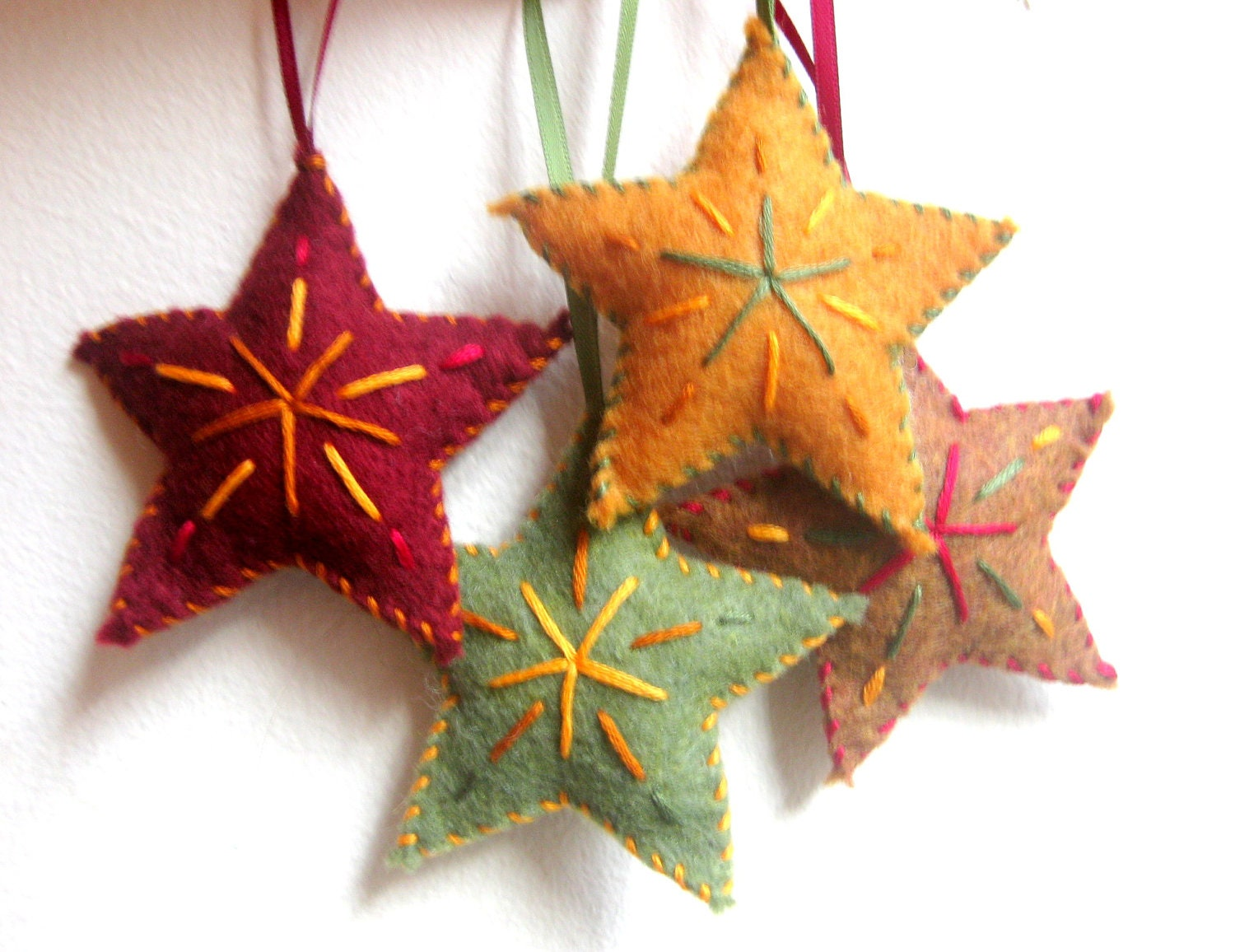 Star Christmas ornaments set of four felt ornaments