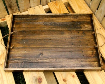 Reclaimed wood serving tray, wooden serving tray, serving tray, dinner tray, wooden dining platter, handmade serving tray