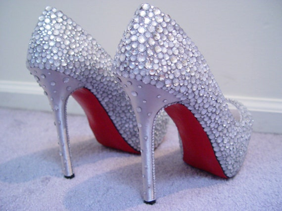 Hand Made Womens Christian Louboutin Style Rhinestone High Heel Shoes W Red Painted Bottoms