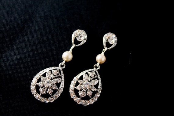 Natasha Swarovski crystal and pearl bridal earrings